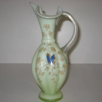 Old Green Pitcher vase - Art Glass