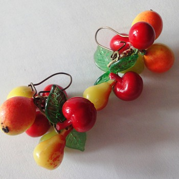 Funny Bakelite fruit earrings