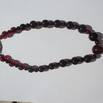 Cherry amber bakelite necklace - Costume Jewelry