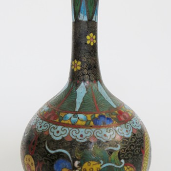 "Chinese Cloisonne Vase~One of Pair~7+1/2""h~Beautiful Design"