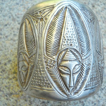Vintage Etched Ethnic  Tribal Sterling  Silver Cuff Bracelet - Fine Jewelry