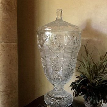 "Huge 32.5"" Lidded Urn on Metal Stand"