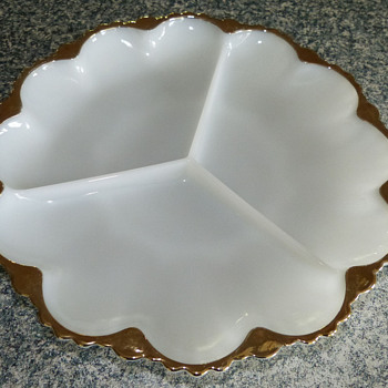 Milk Glass Sectioned Dish with Gold Trim