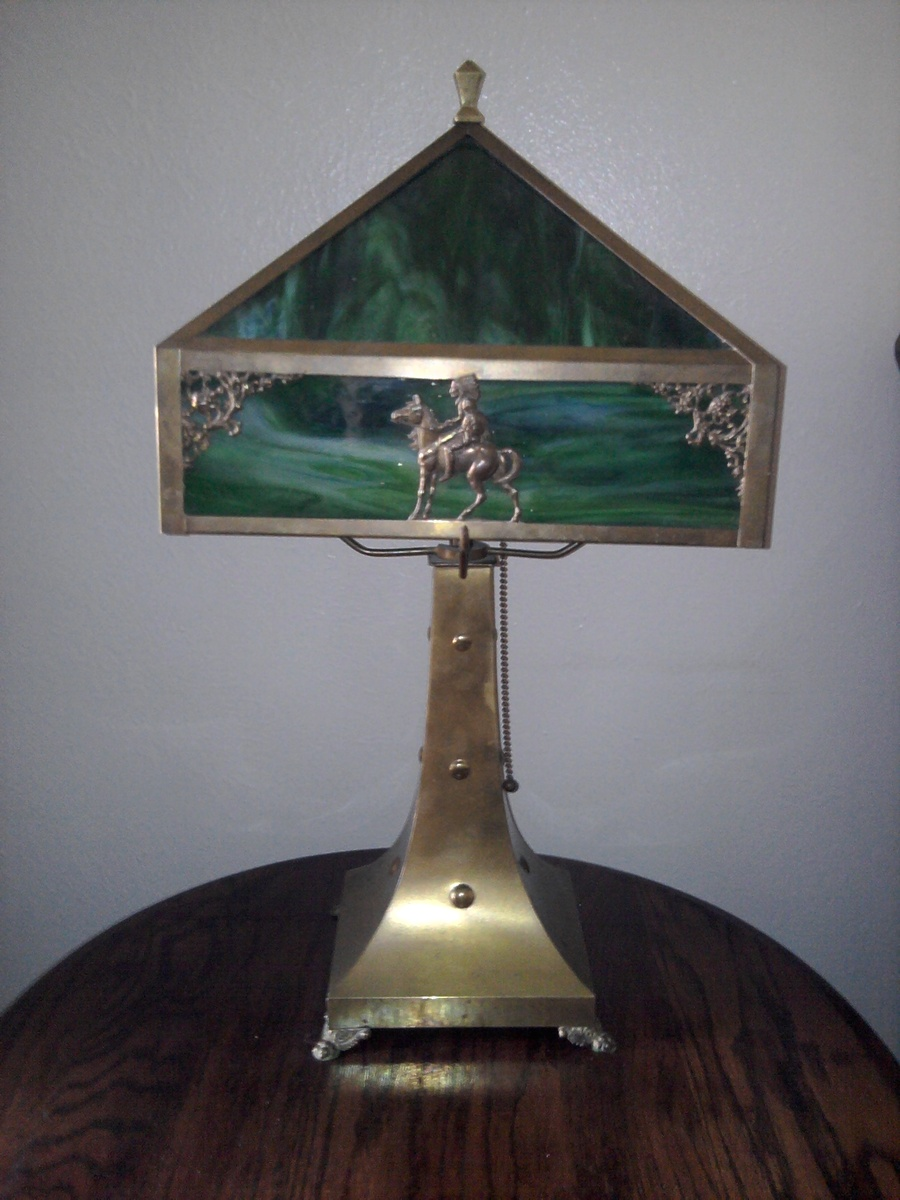 Antique Green Slag And Brass Indian Lamp Collectors Weekly