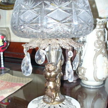 Vintage cut glass crystal pineapple cut compote cherub marble base