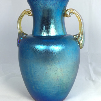 "Loetz Cobalt ""Norma"" Two-Handled Vase. 7"" Tall. Circa 1918?"
