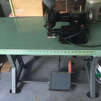 Commercial Singer Table with older Lewis Blind Stich sewer - Sewing