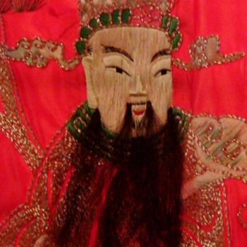Oriental Silk Tapestry  Oriental Figures With Real Hair (Animal Hair) Beards