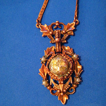Copper Brass Necklace With Cabochon and Faux Pearls - Costume Jewelry