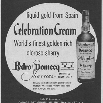 1954 Domecq Oloroso Sherry Advertisement - Advertising