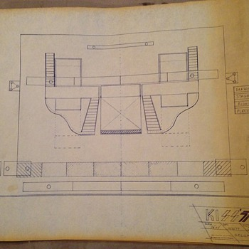 1977 KISS stage plans from show in Omaha, NE