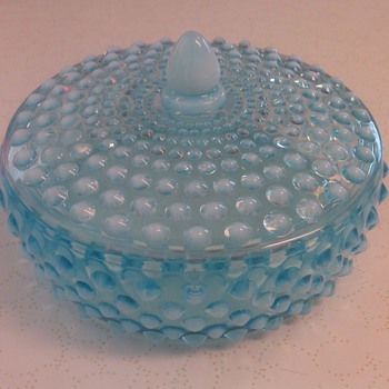 VERY RARE & HTF FENTON BLUE OPALESCENT HOBNAIL LOW CANDY JAR NO. 3880 - Glassware