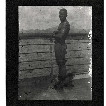 African American Man Standing at Railing Cabinet Card - Photographs