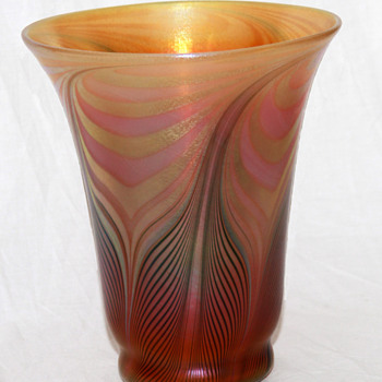 Quezal Pulled-Feather Shade-Vase, HUGE! - Art Glass