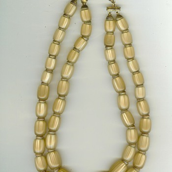 Vintage Trifari Double Strand Lucite Necklace - Costume Jewelry