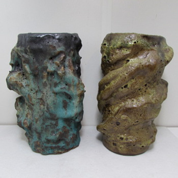 Mid Century Heavy Lava Pottery Vases 1966 signed HTC