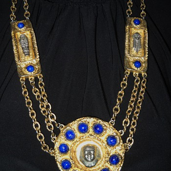  70&#039;s Kenneth Lane Egyptian Necklace