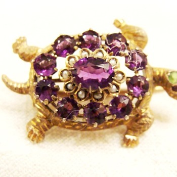 Antique Gem Set Turtle Brooch