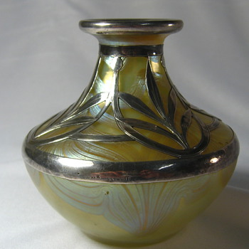 Loetz Phnomen Genre 829 Vase W/ Sterling overlay - Art Glass