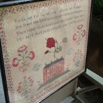 A 1839 needle point art with poetry