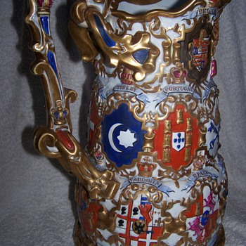 Mysterious Jug / Pitcher covered in Flags - Art Pottery