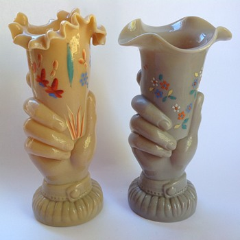 Victorian glass hand vases with painted decoration