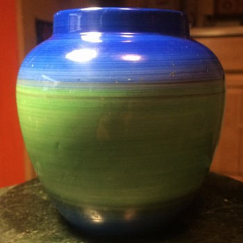 Shelley Blue and Green Drip Ware Art Deco Vase