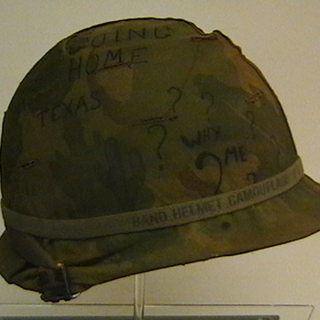 U.S. Army M-1 Helmet Used in Vietnam and Cammo Cover with Original Grafitti - Military and Wartime