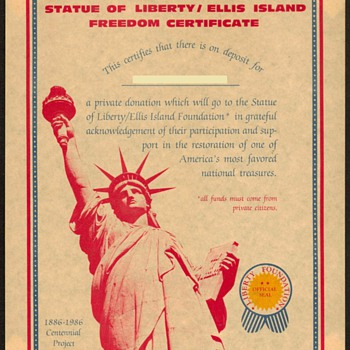 1986 - Statue of Liberty Restoration Certificate
