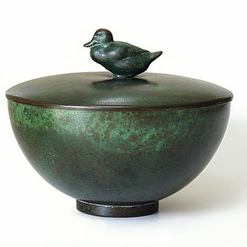 Carl Sorensen Deco Bowl with duck handled lid - Art Deco