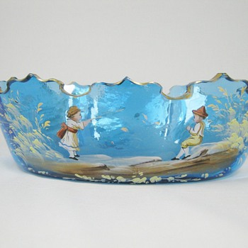 Gorgeous Harrach blue art glass Bowl painted by Julius Muhlhaus Bohemian ca. 1880's