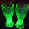 Pair of small uranium glass vases (possibly by Sowerby)