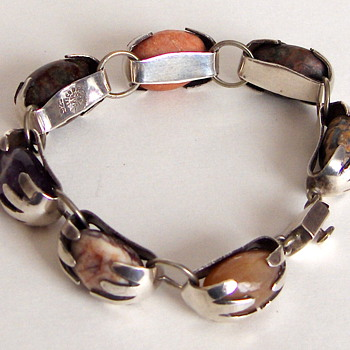 Amazing Gemstone Egg Mexico Vintage Sterling Link Bracelet