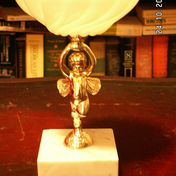 Vintage Italian Milk Glass Scallop Dish w/ Angel or Demon Pedestal & Marble Base - Glassware