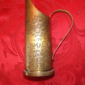 WW2 Trench Art Jeweler engraved pitcher - Military and Wartime