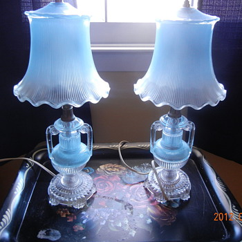 Pair of Glass Lamps - Lamps