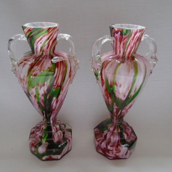 Bohemian Welz Octagonal Trophy Vases