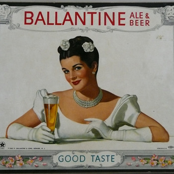 1947 Ballantine Ale and Beer Brunette Beauty Masonite Litho U.S.A. - Breweriana