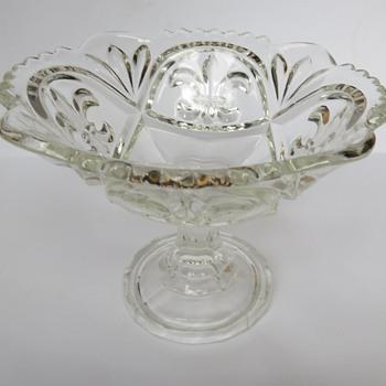 pressed Glass Fleur de Lis Compot - Bonbon Dish - Glassware
