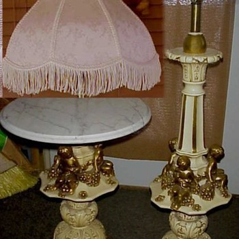 Rare Sergio Fuggiti Set Cherubs Carrara Marble Stand Table Floor Lamp Italian Gold 60s