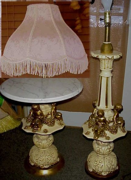 Rare Sergio Fuggiti Set Cherubs Carrara Marble Stand Table