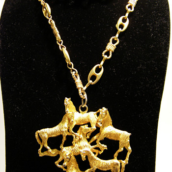 Vintage Les Bernard Inc. Six Horses Pendant Necklace - Costume Jewelry