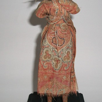 Antique Folk Art Wooden Hand Carved Doll