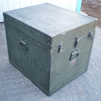 Vintage Military Surplus &quot;Foot Locker&quot; Type Record Case - Records