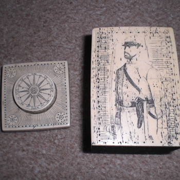 Square pottery jar with oictures of General Sherman and Stonewall Jackson - Art Pottery