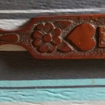 Another of my wooden wonders, Welsh love spoon made from old furniture, upcycled and recycled
