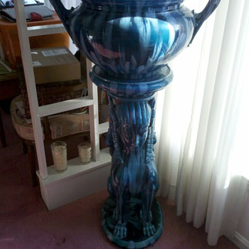 Mystery Blue Ceramic Statue - Art Pottery