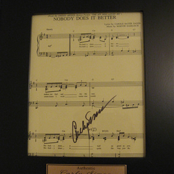 Carly Simon . . . Autographed Sheet Music