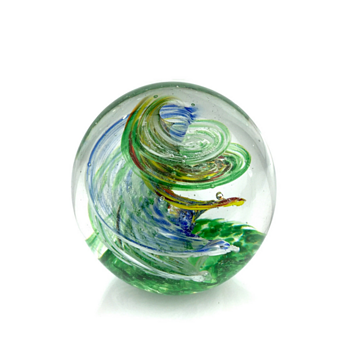 Green and multicolored Amorphic Swirl Art glass Orb or Glass Paperweight - Tempest in a Tea Pot Glassware