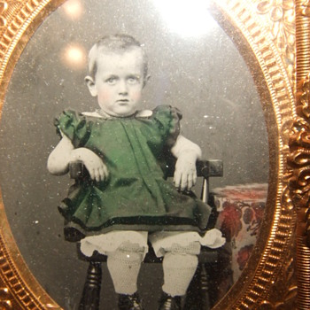 Beautifully tinted ruby ambrotype of boy in a DRESS - Photographs